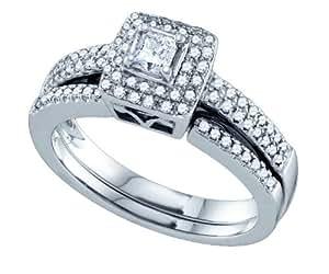 14ct de oro blanco de 0,50 TPM diamante 0,20 TPM Princess-cut-centro suite conjunto anillo de bodas - JewelryWeb