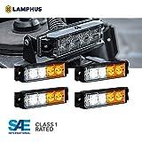 "4pc NanoFlare 4"" 4-Watt LED Grille Light [SAE Class 1] [72 Flash Patterns] [3-Year Warranty] Surface Mounted Emergency Strobe Light Head - Amber/White"