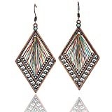 Rainbow Thread Geometric Dangle Earrings: Bronze & Teal Threader Bohemian Multi Color Jewelry for Women (Rainbow Thread)