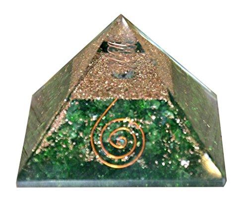 Aatm Reiki Energized chakra healing Green Aventurine Orgone Pyramid With Clear Crystal Gemstone / EMF Protection Meditation Yoga Energy Generator