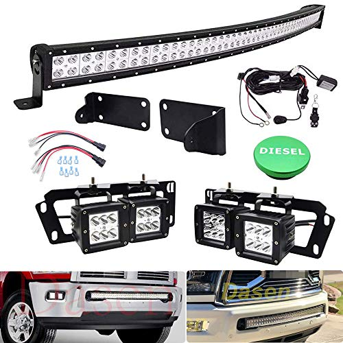 """Dasen For Dodge Ram 2500 3500 2010-2019 Front Bumper Grille 40"""" 240W Curved LED Light Bar Kit & 4x 18W 3"""" LED Dually Fog Lights Plug N Play Mount Brackets w/Remote Control Wire & 1x Diesel Fuel Cap"""