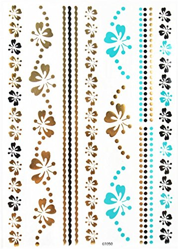 Gold & Silver & Black & Blue Jewelry with butterflies and flowers design Metallic Temporary Tattoos, tattoo Size: 8.27