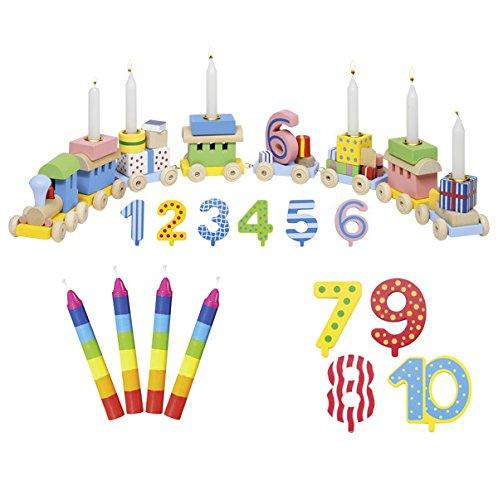 Goki Geburtstagszug Zahlen 1-10 10er Set Kerzen bunt - Die LuLuGoS GK106-60860