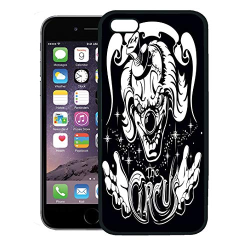 (Semtomn Phone Case for iPhone 8 Plus case,Evil Scary Clown Head His Hands and Old Inscription Circus Horror Film Character Joker iPhone 7 Plus case)