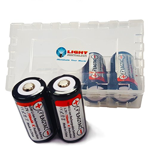 4 EagleTac RCR123A 16340 Protected Li-ion Rechargeable Batteries 3.7v 750mAh w LightJunction Case Arlo compatible