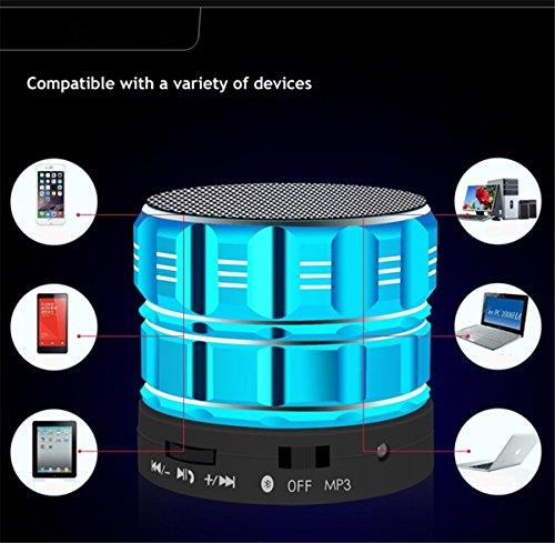 H&M Altavoces Portátiles Mini Bluetooth, Metal Acero Inalámbrico Manos Libres Altavoz Libre Con Radio FM Soporte SD Card Play , blue Gold
