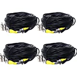 Henxlco 4 Pack 150 feet Security Camera BNC Video Power Cable Pre-made All-in-One BNC RCA DVR CCTV Surveillance System Extension Wire Cord