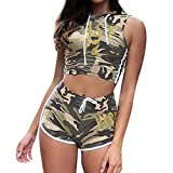 Women Two-Piece Sleeveless Camouflage Hoodie Pullover with Elastic Casual Shorts Set (Camouflage, L)