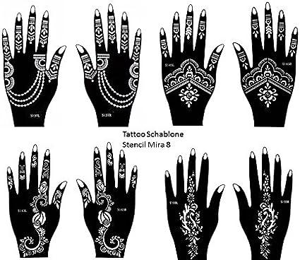 Henna Tattoo Plantillas 8 unidades para un solo uso para manos ...