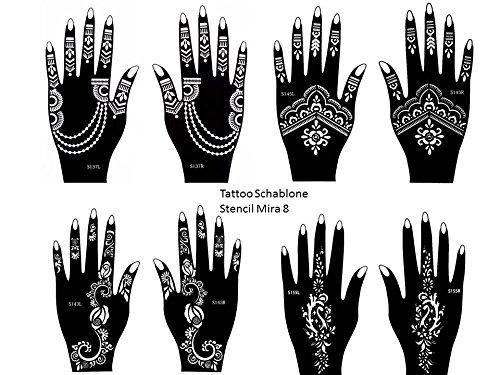 Henna Tattoo Stencil 8pezzi set per le mani per uso singolo Anche per Glitter Tattoo e Air Brush Tattoo adatto Set Mira Beyond Mira8