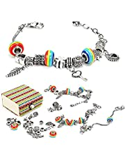 Jewellery Making Kit, Bracelet Making Kits with Coloured Bead Silver Plated Snake Chain, Arts and Crafts Sets for 8-12 Years Old Teenage Girls Gifts