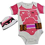 Knitwits  Baby Fett  Onesie and Hat Bundle Outfit (0-3 Months)