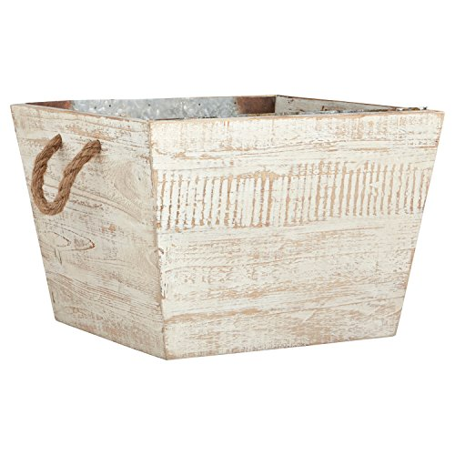 (Stone & Beam Modern Farmhouse Wood and Metal Storage Bin, 14