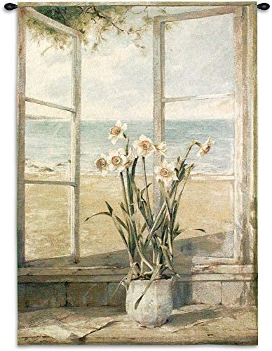 Ocean Narcissus by Fabrice de Villeneuve Woven Tapestry Wall Art Hanging Still Life Flower and Oceanside 100 Cotton USA Size 53×38