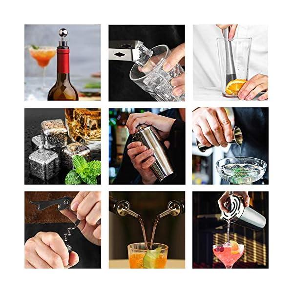 DINOKA Cocktail Set 18 Pezzi Professionale 304 Acciaio Inossidabile 750ml ,4 Pietre di Whisky,Squisita Cornice ,Kit… 6 spesavip