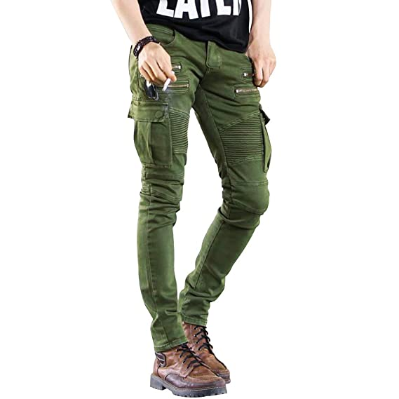 De À Pantalon Randonnée Hommes Jeans Cargo Coupe Biker Plissé Zippées Pour Fit Poches Skinny Avec DH9EYW2I