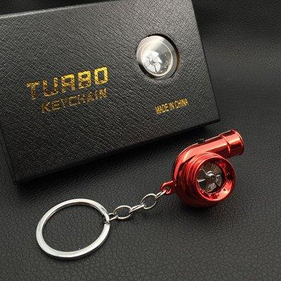 XiaoGao_ Creativo Llavero LED Llavero de Turbo,Rojo metálico ...