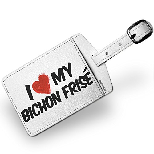 Luggage Tag I Love my Bichon Frisé Dog from Spain, Belgium - NEONBLOND (Frise Bichon Luggage Tag Leather)
