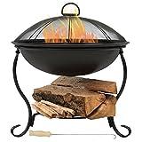 Sunnydaze Elegant Black Steel Fire Bowl Pit with Spark Screen and Built-In Log Holder, 18-Inch Diameter