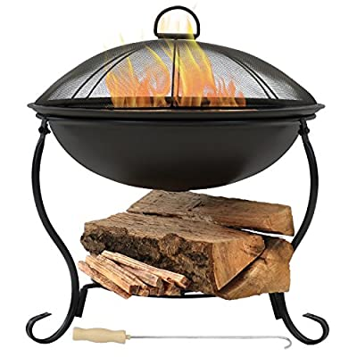 Sunnydaze Elegant Steel Fire Pit Bowl - Black Outdoor Wood-Burning Patio Fireplace and Stand with Spark Screen Guard - Lightweight - Convenient 18-Inch Size - SMALL SIZE: Portable firepit has a 18.75 inch diameter x 19 inches tall; Weighs 7.2 pounds; Firebowl has a 18.75 inch diameter x 6 inches deep and sits 9 inches high above the ground in stand; Included poker is 13.5 inches long; Wood grate has a 11.25 inch diameter WELL-MADE, DURABLE CONSTRUCTION: Outside bonfire pit set is made of dark steel with a high-temperature black paint finish; Iron stand is an elegant and sturdy base; Wood grate provides optimal air flow for a better fire burn; Fire pit is small, strong and lightweight, making it perfect for smaller spaces in the outdoors like the patio, backyard, beach or camping EASY-TO-ASSEMBLE: Firepit includes the fire bowl with stand, poker and spark screen. - patio, outdoor-decor, fire-pits-outdoor-fireplaces - 51ZcYWKjuhL. SS400  -