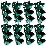 BIO BLOOMS Vertical Wall Garden M2 Model Panel with Hanging Pots (Green) -Set of 8