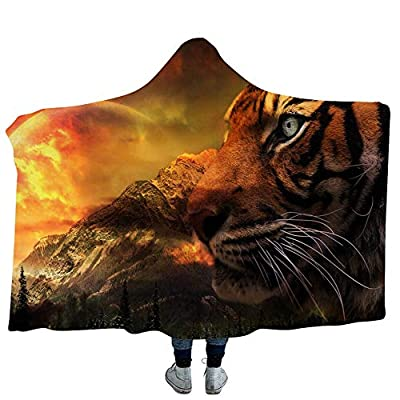 YJZ Tiger 3D Hooded Blanket Soft Sherpa Fleece Blankets for Adults Cozy Bathrobes Cloak Hood Bath Blanket with Hood,6,Adults