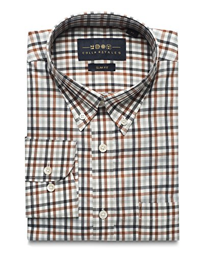 Black & White Check Dress - Collar Tales Men's Checkered Superfine Cotton Slim Fit Narrow Collar Button Down Long Sleeve Multi-Check Dress Shirt with Pocket- Brown, Black and White