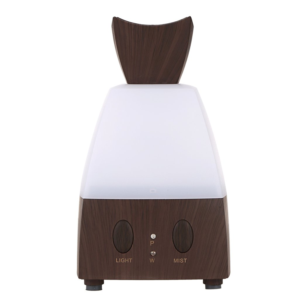 Portable Mini Office Home Cool Mist Humidifier Ultrasonic Air Purifier Freshener with Adjustable Light Color and Mist, US Plug (Deep Brown)