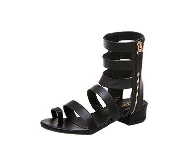 YUCH Bottes Femmes Cool Tube Haute À Fond Plat Chaussures Étudiant Loisirs,Black,36