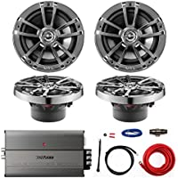 Marine Amp & Speaker Combo: 4X Infinity 622m 6.5-Inch 225-Watt 2-Way WeatherProof Boat Vehicle Coaxial Speakers Bundle With Kenwood 600-Watt 4-Channel Compact Amplifier + Kicker 8-Gauge Install Kit