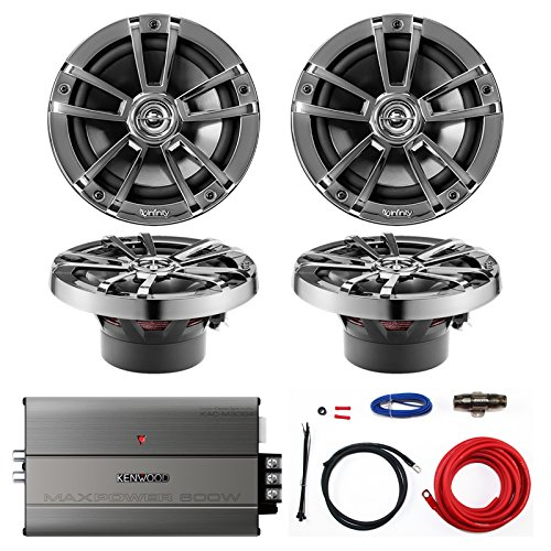 Marine Amp & Speaker Combo: 4X Infinity 622m 6.5-Inch 225-Watt 2-Way WeatherProof Boat Vehicle Coaxial Speakers Bundle With Kenwood 600-Watt 4-Channel Compact Amplifier + Kicker 8-Gauge Install Kit (Amp Infinity)