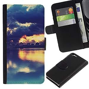 Apple (4.7 inches!!!) iPhone 6 , la tarjeta de Crédito Slots PU Funda de cuero Monedero caso cubierta de piel (Picturesque Sunset Lake)