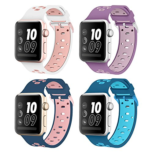 Band for Apple Watch 38mm, Alritz 4 Pack of Soft Silicone Sport Straps Replacement Wristband for Apple Watch Series 1 / 2 / 3, Nike+, Free Protective Case - Color Tone Two Skin