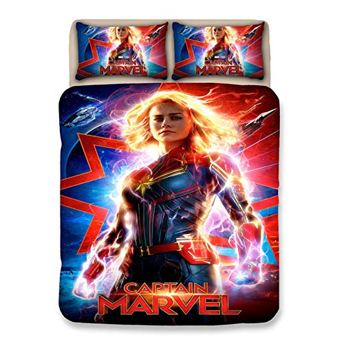 - AMTAN Captain Marvel Duvet Cover Set 3D Superhero Marvel Film Series Best Gifts for 100% Microfiber Bedding Children Cartoon 3-Piece Bed Set 1 Duvet Cover 2 Pillowshams King Queen Full Twin