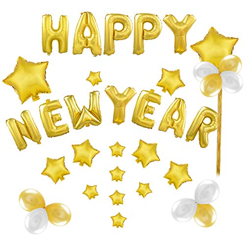 Coxeer Happy New Year Balloons, 2019 Mylar Balloons Foil Balloons Graduation Balloons Banner with with Tassel Stars Balloons for New Year Chrismas Party Decoration -