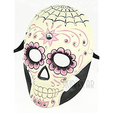 Womens Day of the Dead Dia de los Muertos Mask with Crystals