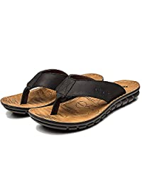 FLY HAWK Men's Leather Fanning Sandals Casual Shock Proof Summer Slippers Flip-Flops Outdoor Beach