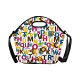 InterestPrint Neoprene Lunch Tote Bag Animal Letters Reusable Lunchbox with Shoulder Strap