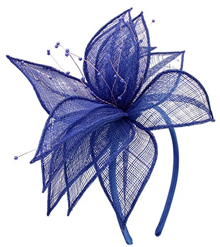 Abaca Collection - Elegance Collection Sinamay Leaf Fascinator In Cobalt, Size: One Size