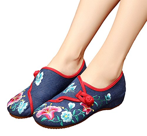 AvaCostume Womens Morning Glory Embroidery Round Toe Rubber Flats Shoes Blue ec1x11CS