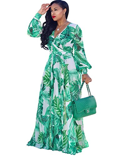 Bushangban Womens Chiffon Printed Floral Maxi Dress Long Sleeves Dresses High Slim Waisted Belt Plus Size (Chiffon Dress Printed)