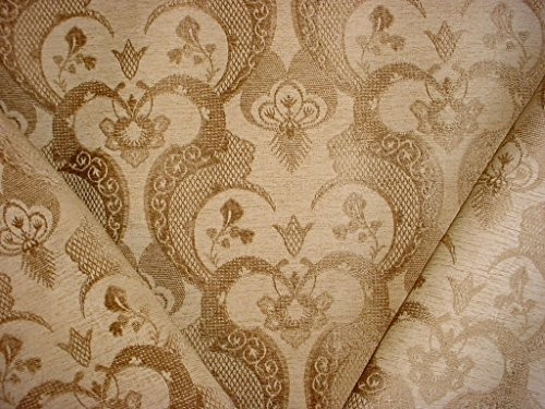 60RT12 - Golden Brown / Antique Gold Andalusian Arabesque Floral Scroll Motif Damask Chenille To the Trade / Designer Upholstery Drapery Fabric - By the Yard
