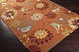 Surya Rain RAI-1104 Contemporary Hand Hooked 100% Polypropylene Moss 2'6'' x 8' Floral Runner