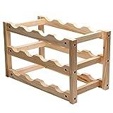 KCHAIN Wood Wine Rack 12 Bottles Holder Shelves