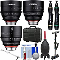 Rokinon Xeen 24mm &, 50mm T/1.5, 135mm T/2.2 Pro Cine Lens Bundle (for Video DSLR Canon EF) with Waterproof Hard Case + Camera Slider + Stabilizer + Kit