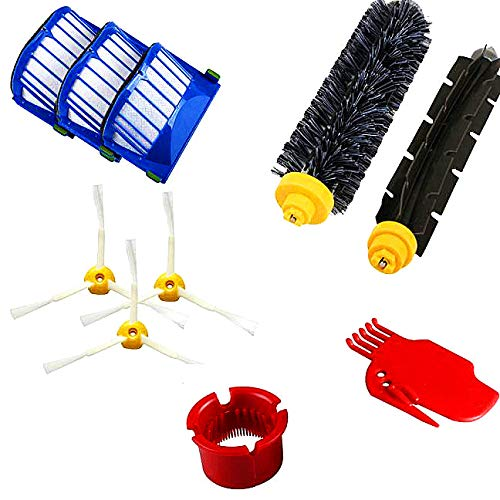 Mbby Replacement Parts Kit for Irobot Roomba 600 Series 610 620 650 Robot Vacuum Cleaner,Replenishment Accessories Includes 3 Filter Side Brush,1 Bristle Brush,1 Flexible Beater Brush,1 Cleaning Tool