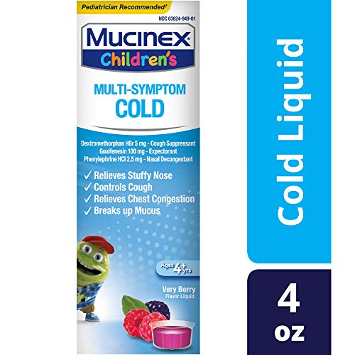 Mucinex Children's Multi-Symptom Cold Relief Liquid- Relieves Stuffy Nose, Chest Congestion, Cough & Mucus, Expectorant & Cough Suppressant With Dextromethorphan, Guaifenesin, Phenylephrine, 4 oz.
