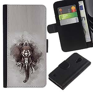 KingStore / Leather Etui en cuir / Samsung Galaxy S4 IV I9500 / África pintura india Gris;