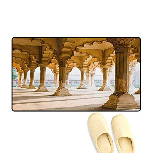 Bath Mat,Historical Theme Gallery of Pillars at Agra Fort Ethnic Digital Image,Floor Mat Pattern,Pale Coffee and Beige,24