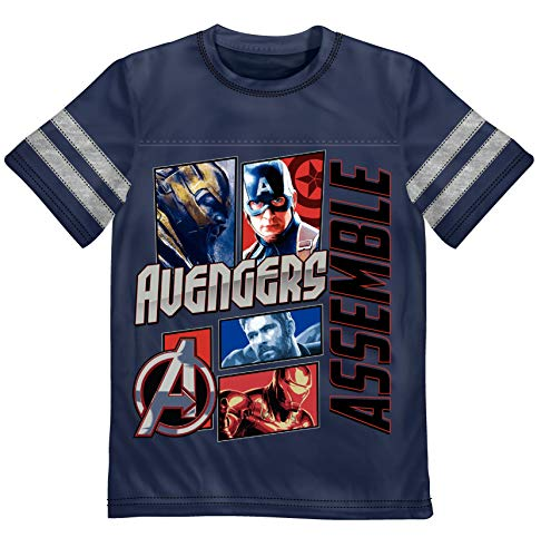 (Justice League Avengers Asemble 4 Superheros Graphic T-Shirt with Striped Sleeves - Nave Blue/8)